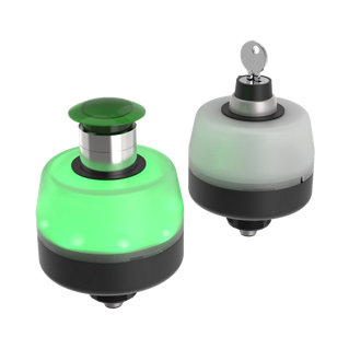 One-Piece Push Buttons and Key Switches with Illuminated Bases